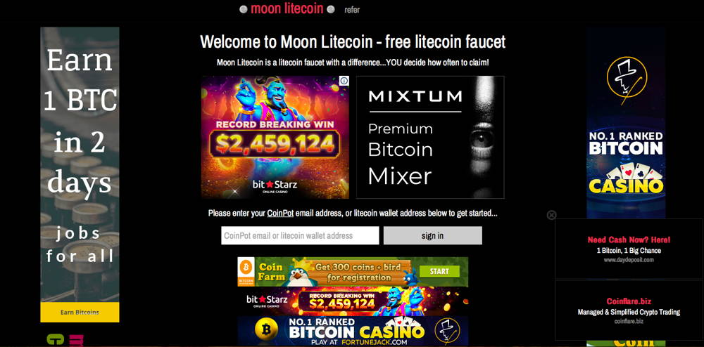 moon litecoin cryptcurrency faucet
