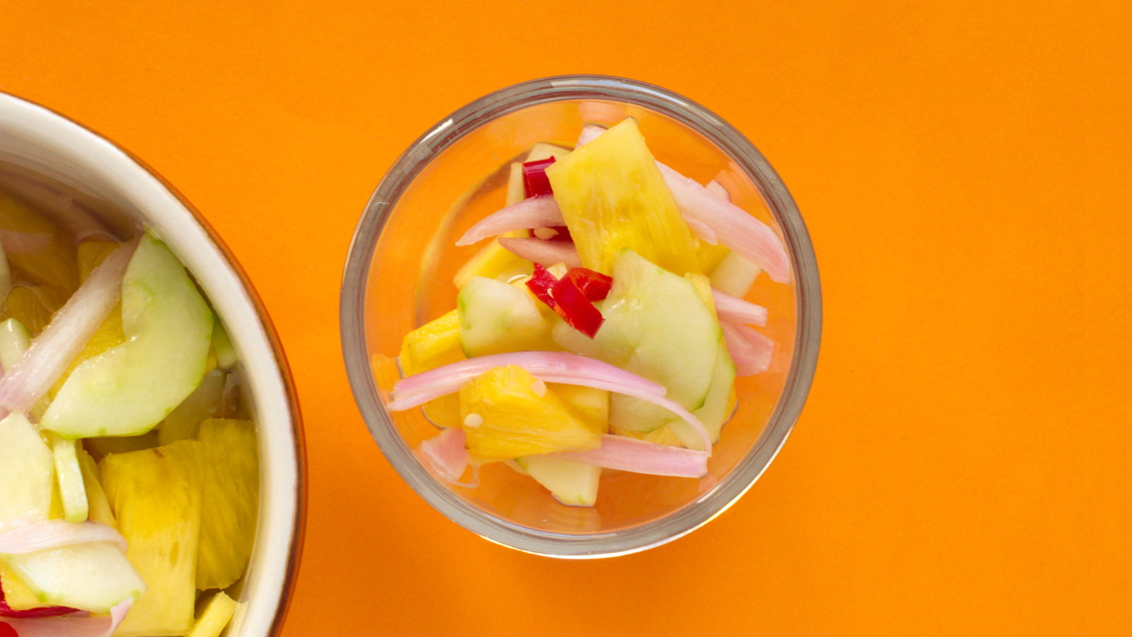 Quick Pickled Cucumber, Onion and Pineapple