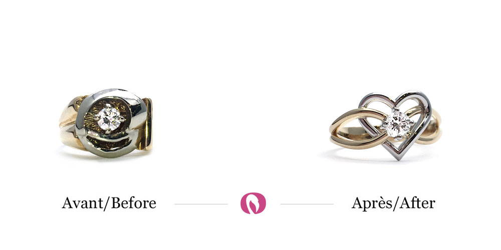 Transformation of a solid two-tone gold ring into a ring with a heart shape