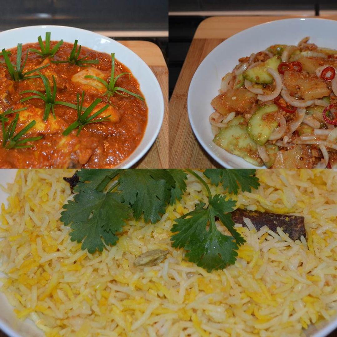 Date: 21 Jan 2020 (Tue) Tonight's dinner: Nasi Minyak (The Wedding Rice) served with Ayam Masak Merah (Spicy Tomato Chicken) and Jelatah (Cucumber-pineapple Salad).