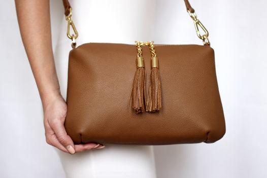 Коричневая кожаная сумка Ivy (золотистая фурнитура)