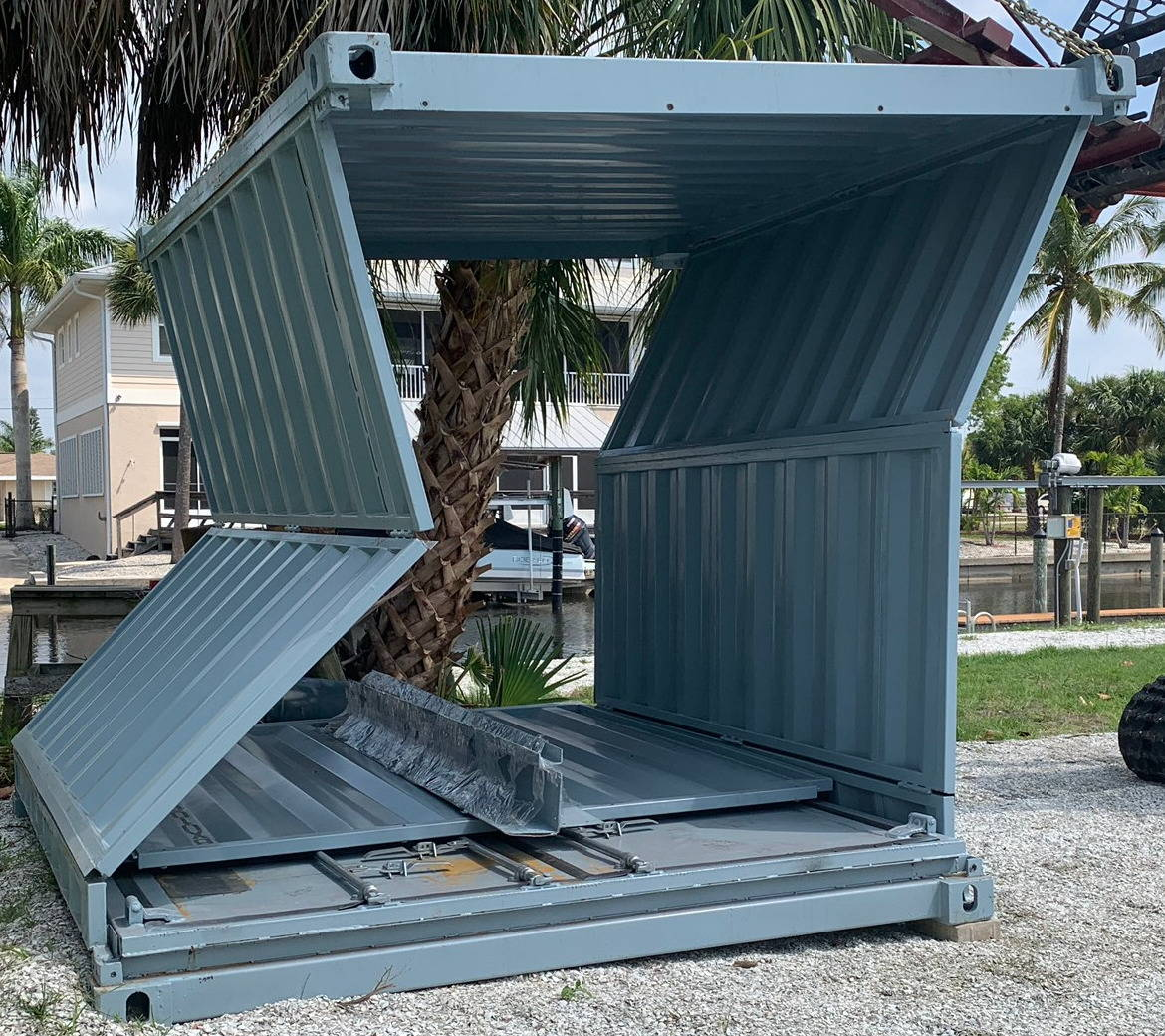 10 foot collapsible shipping container partially set up