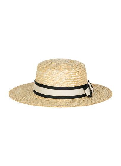 Соломенная шляпа канотье с лентой