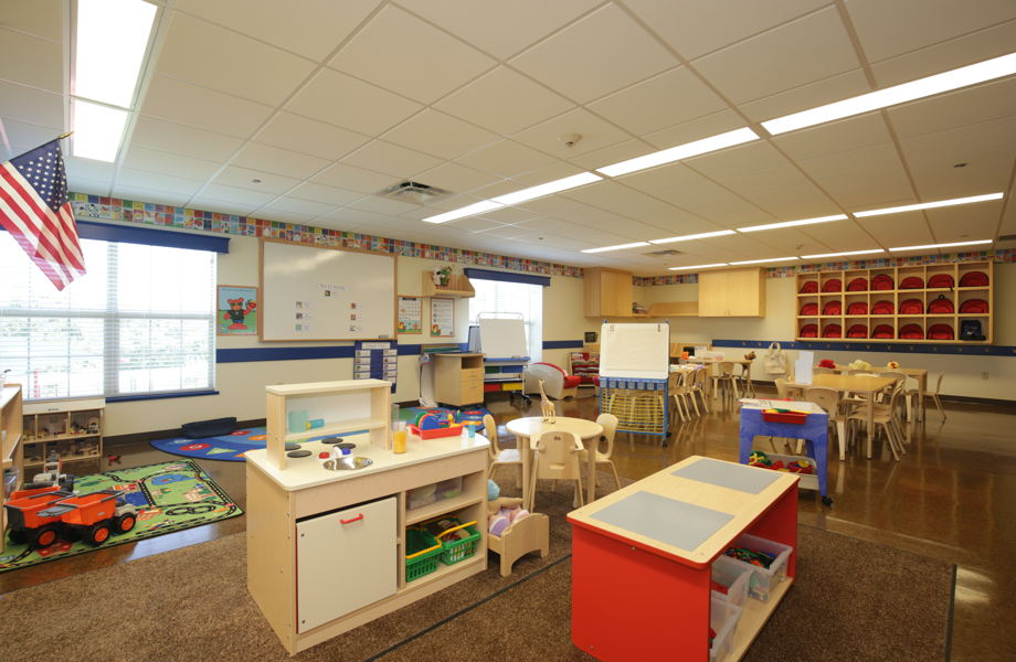 More than a daycare - interior shot of a classroom with classroom equipment
