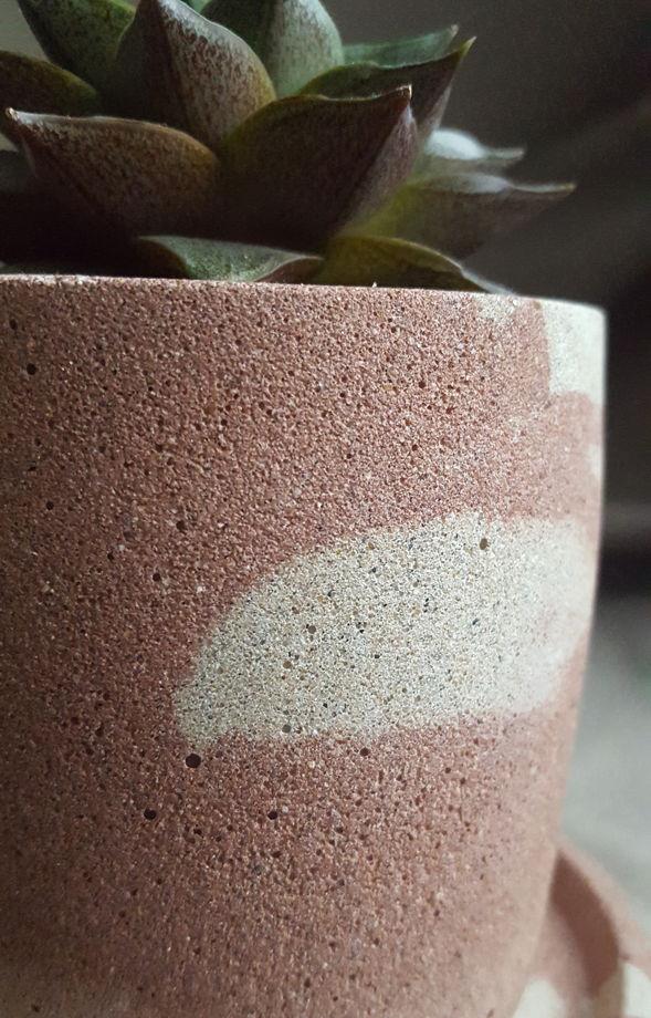 Кашпо бетонное  круглое с тарелкой, размер L