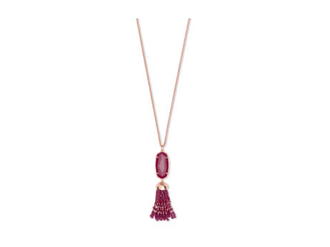 Kendra Scott Eva Necklace in Rose Gold with Maroon Jade and matching Berry Illusion Nail Lacquer