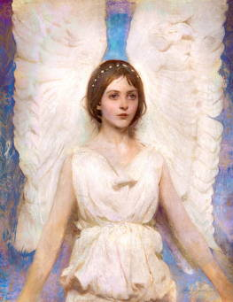 Painting of a young angel girl with tall wings.