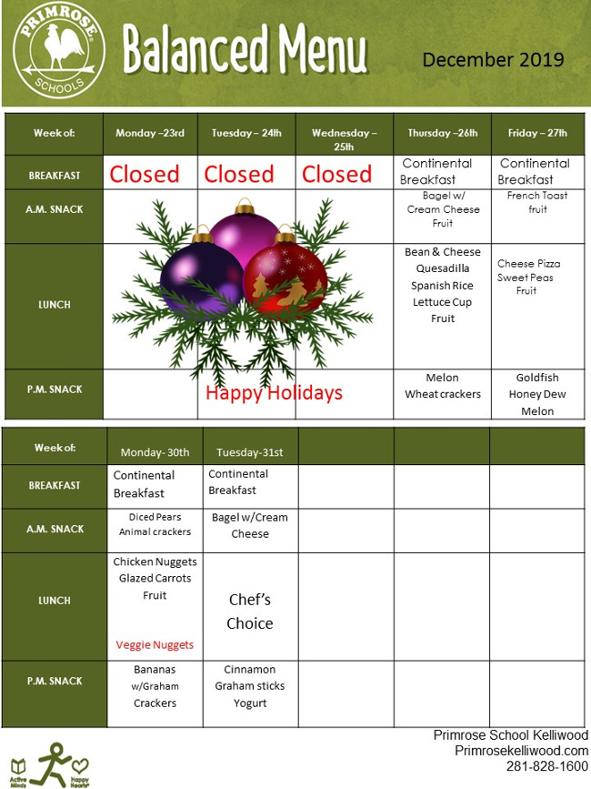 December Menu (Part 2)