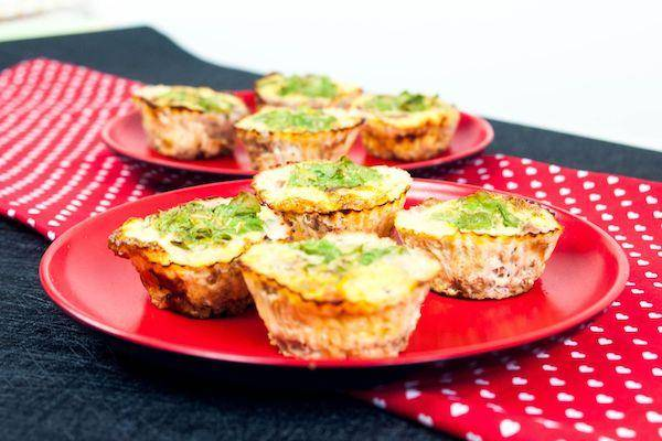 Ground Beef Eggs, Cheese Muffins with Spinach