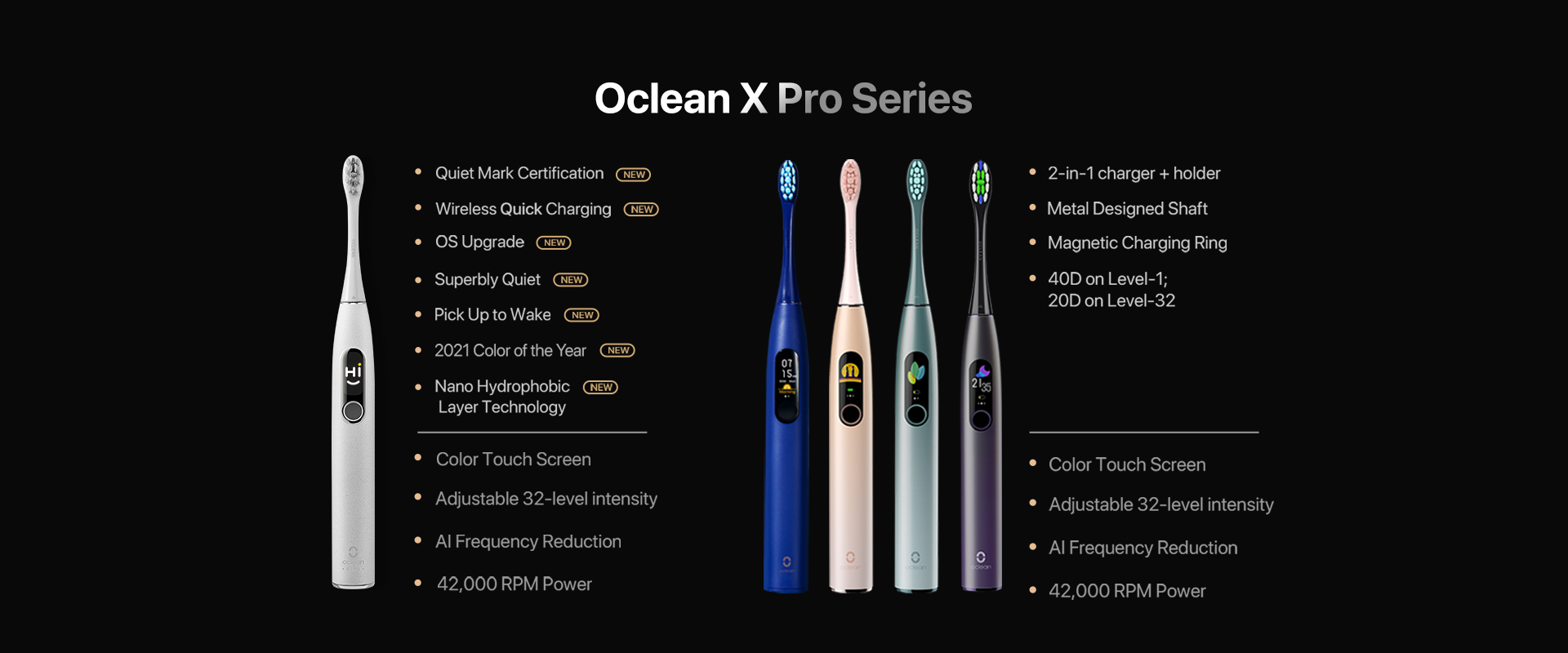 oclean x pro Elite prodcut specification