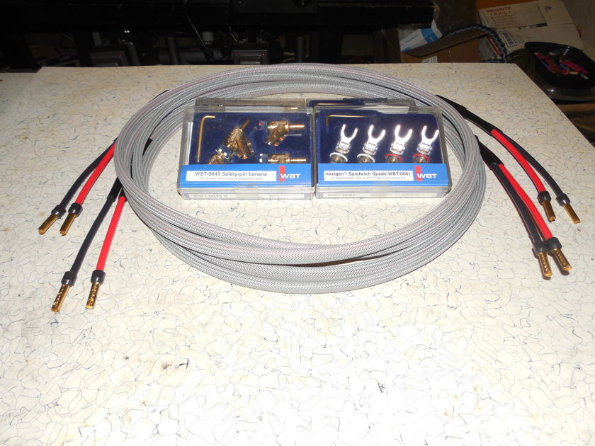 8' SILVER Speaker Cables  Silver Ghost WBT Bananas / Spades