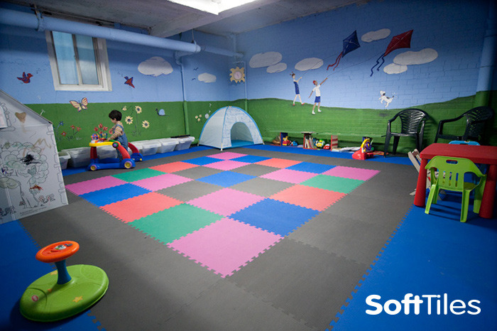From Gray To Gorgeous Softtiles Childrens Playroom Basement Makeover