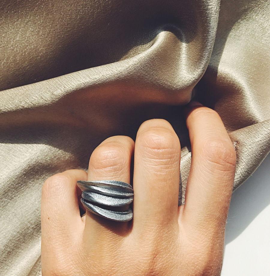 """Кольцо """"Flex"""" цвет темное серебро"""