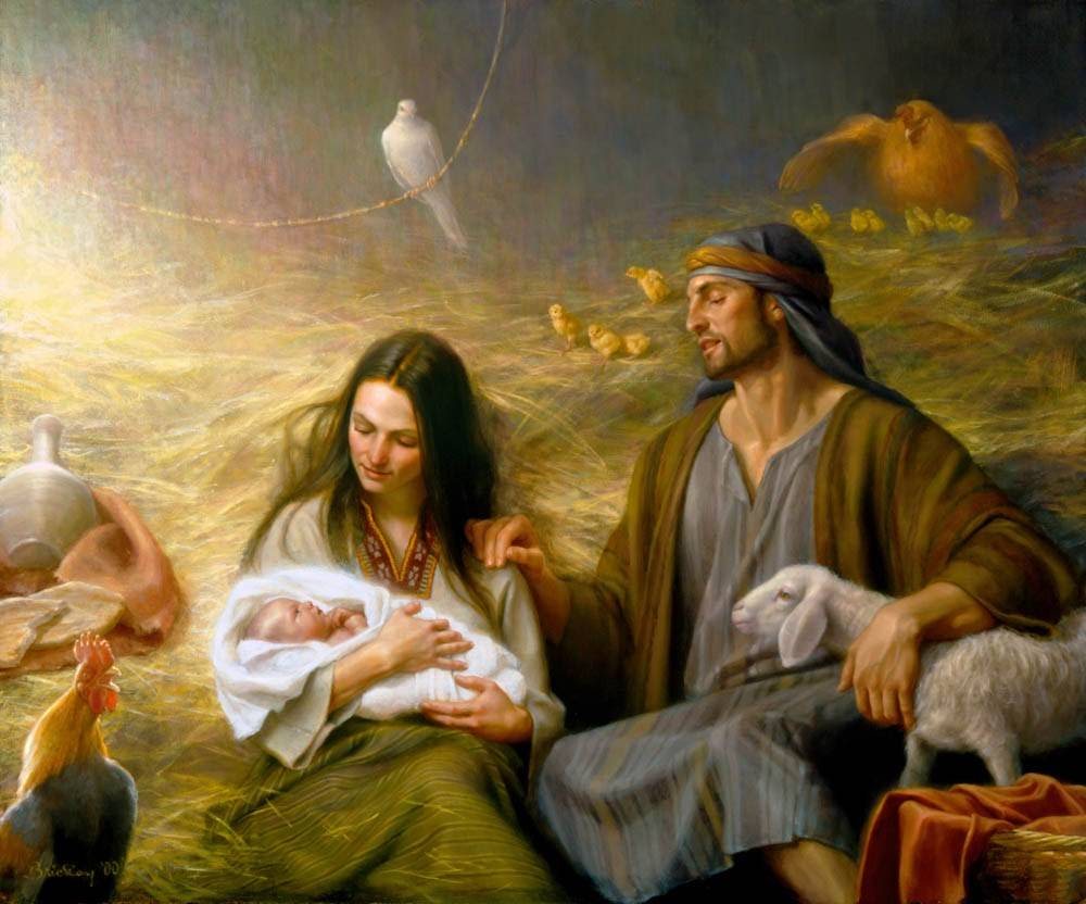 LDS art painting of the Holy Family among stable animals.