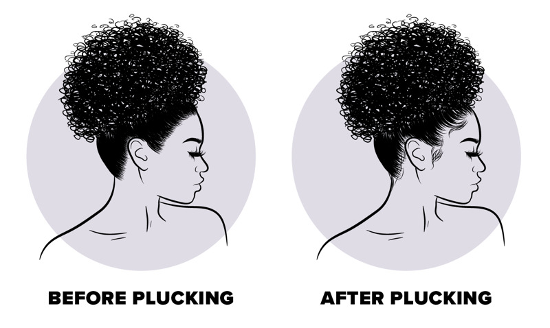 graphic showing the difference between a plucked wig and a non plucked wig