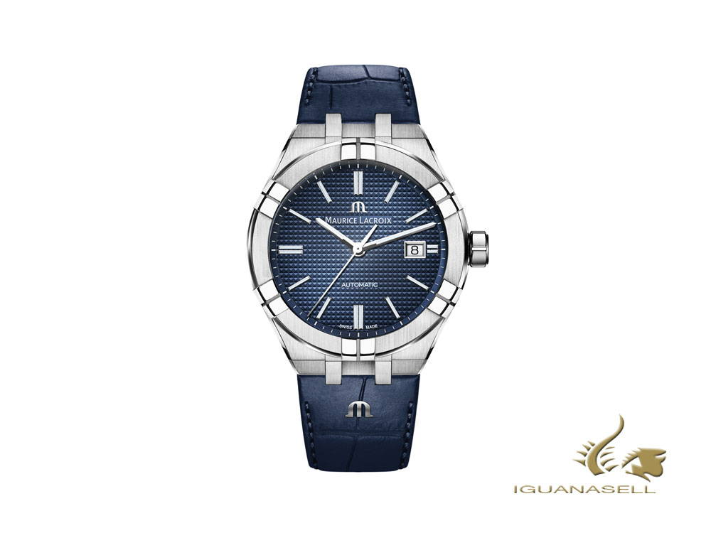 Maurice Lacroix Aikon Gents automatic watch, blue, leather strap
