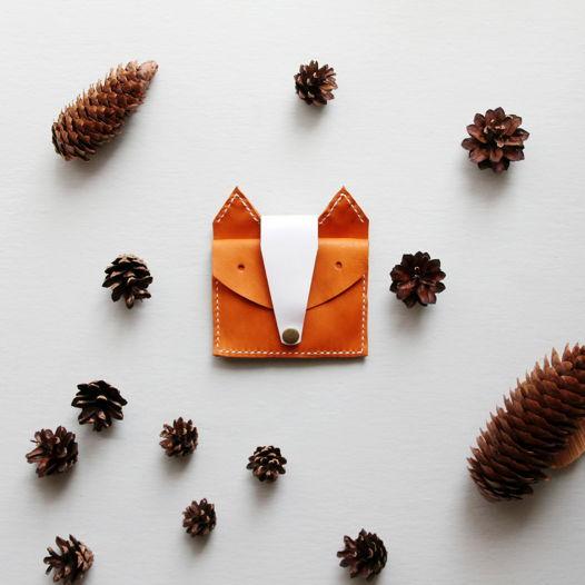 Кожаный кошелёк Лиса оранжевый