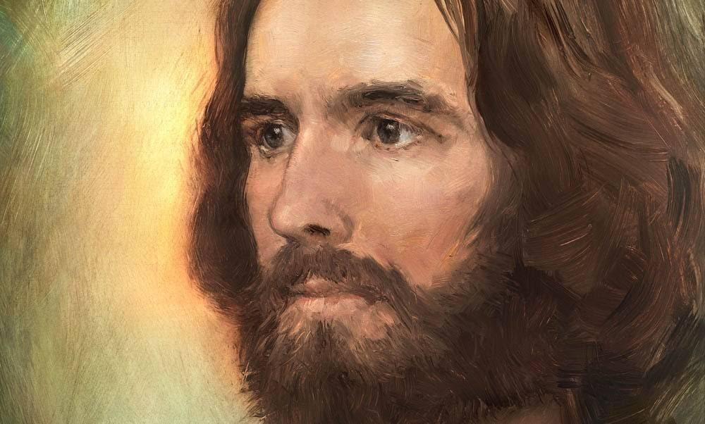 Up-close portrait of Jesus against a simple backdrop.