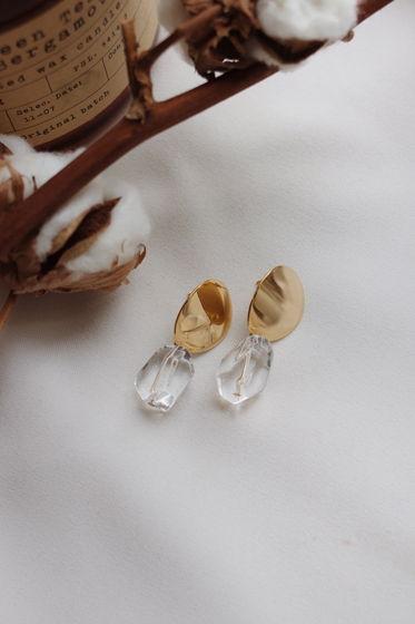 Серьги Glace с натуральным прозрачным кварцем