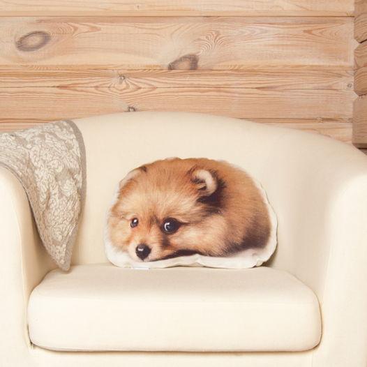 Собака Шпиц, подушка в виде спящего щенка шпица