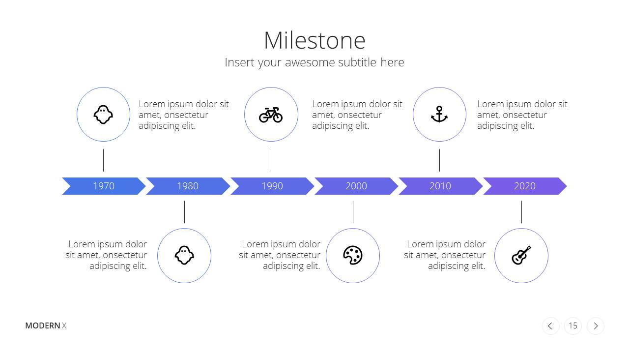 Modern X  Company Profile Presentation Template Milestone