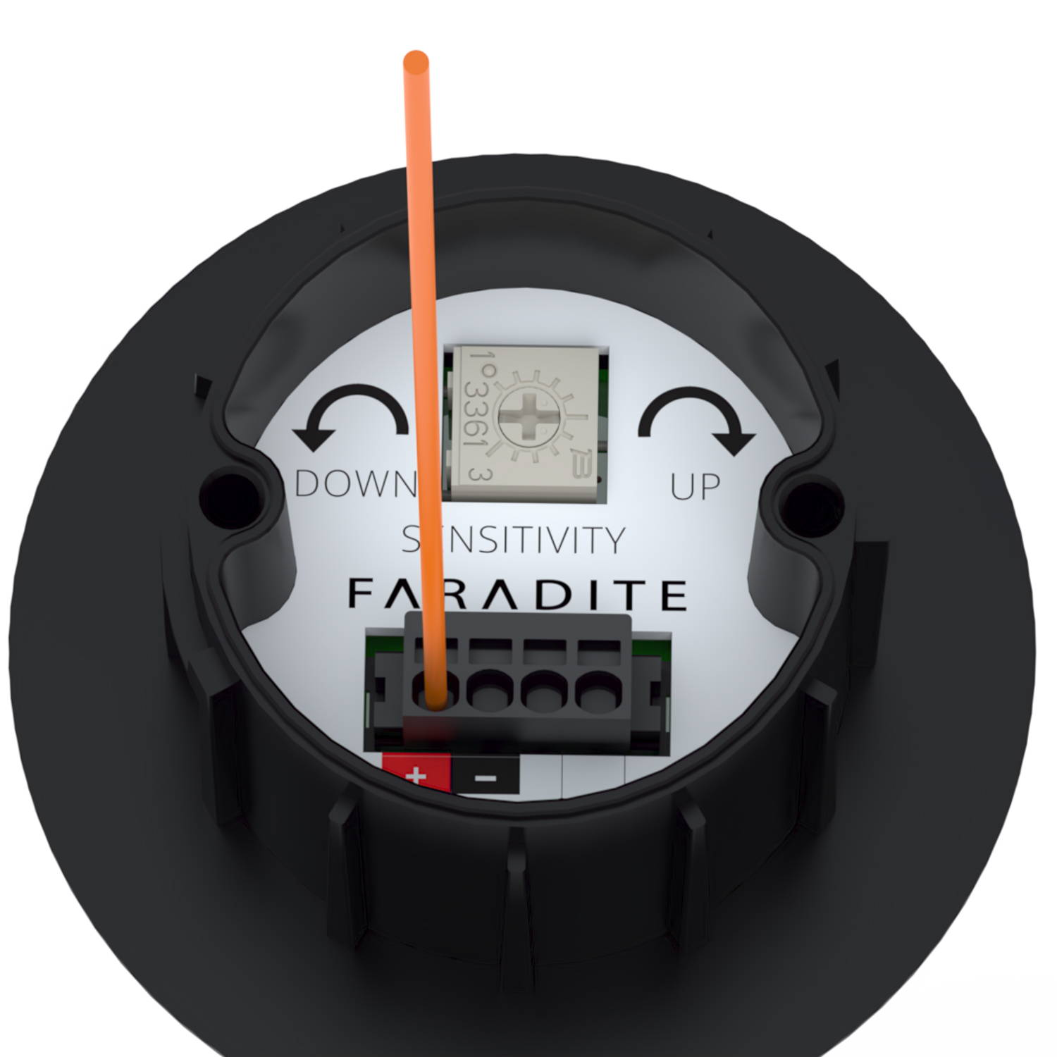 Black Faradite IP67 Motion Sensor 360 dry contact connected cable
