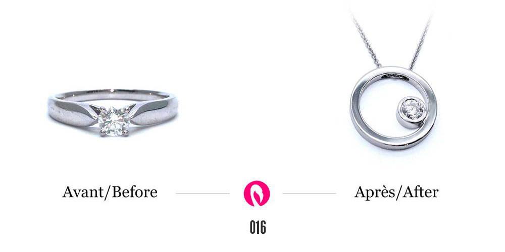 Un jonc éternité avec un diamant transformé en un pendentif circulaire en or blanc avec diamant serti à l'intérieur.
