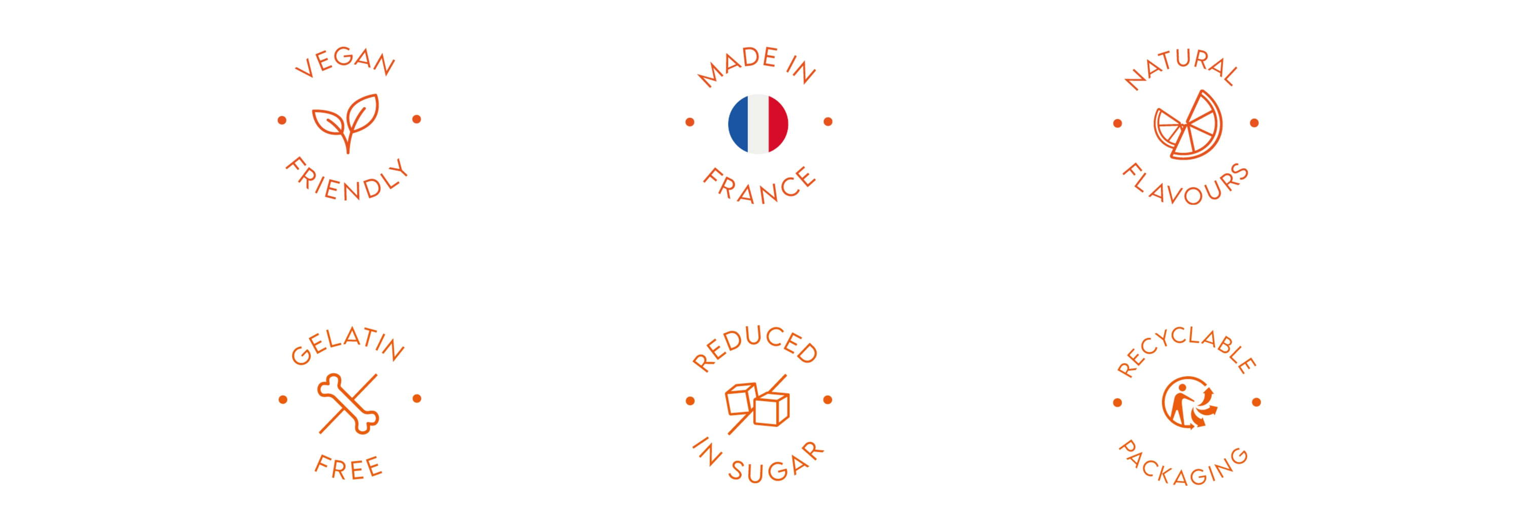 vegan friendly, made in france, natural flavours, gelatin free, reduced in sugar, recyclable packaging icons