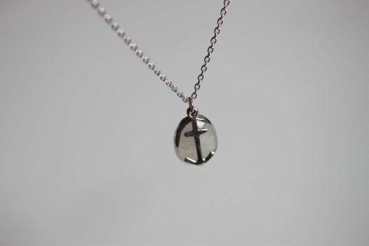 Лунный камень с якорем, подвески на цепочке