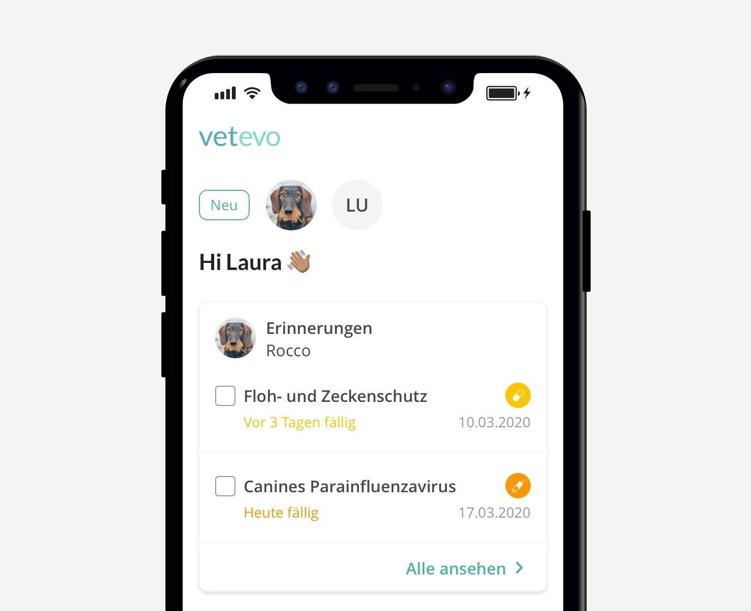 Floh- und Zeckenschutz auf deine vetevo App