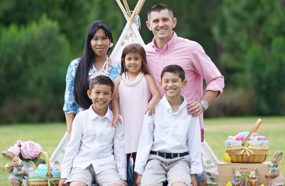 Franchise Owners of Primrose School Penny and Matt McCallister with their family