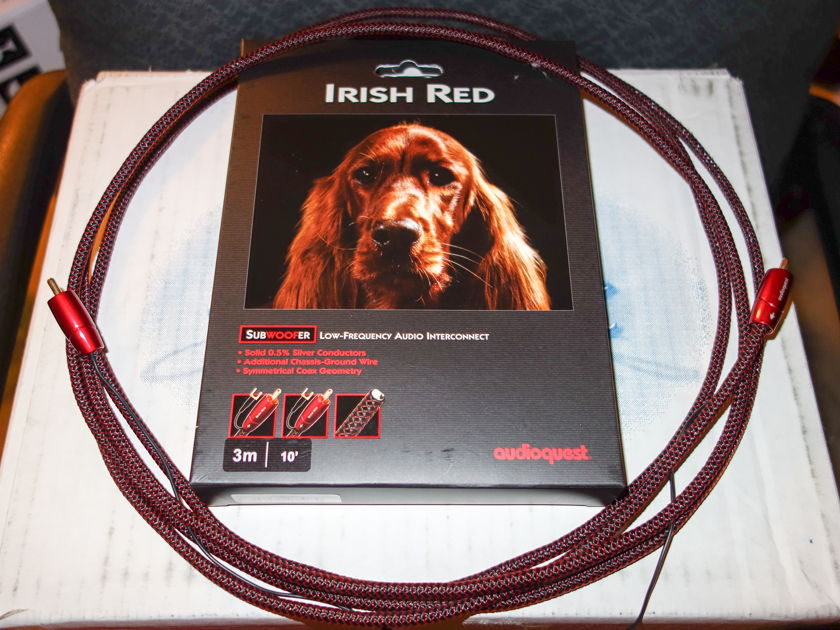 AudioQuest Irish Red Subwoofer cable 3m / 10ft Free Shipping No Fees