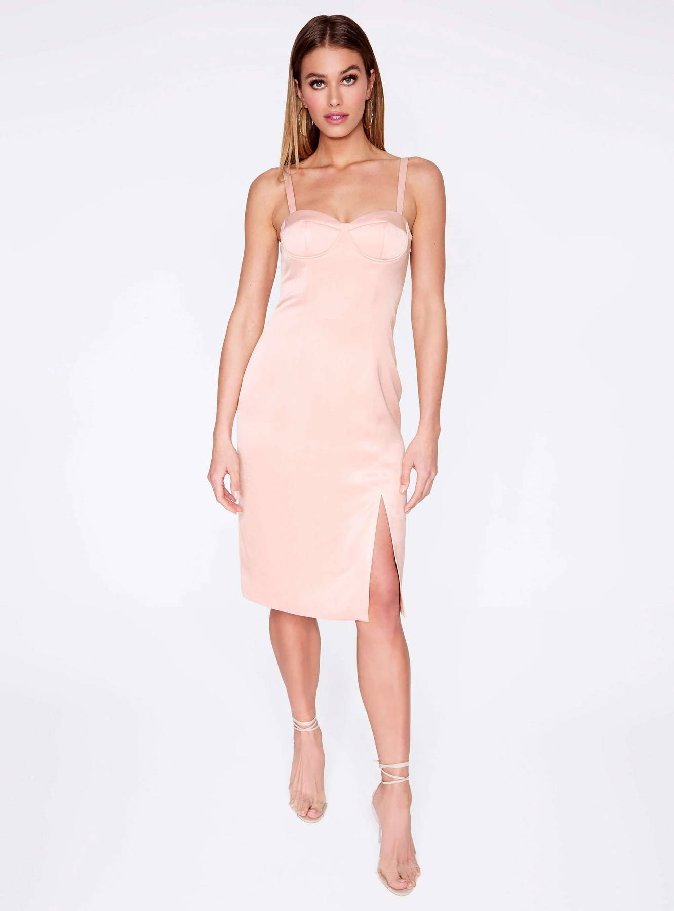 Champagne Front Slit Bustier Dress
