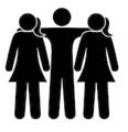 icon of a guy and two girls making hugged
