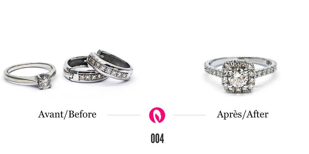 Trois bagues en or blanc avec des diamants de différentes grosseurs transformées en une seule bague semi-éternité avec halo de diamants autour du gros diamant central.
