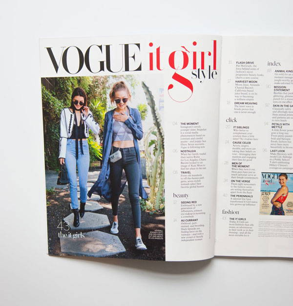 Paris Typeface on Vogue magazine