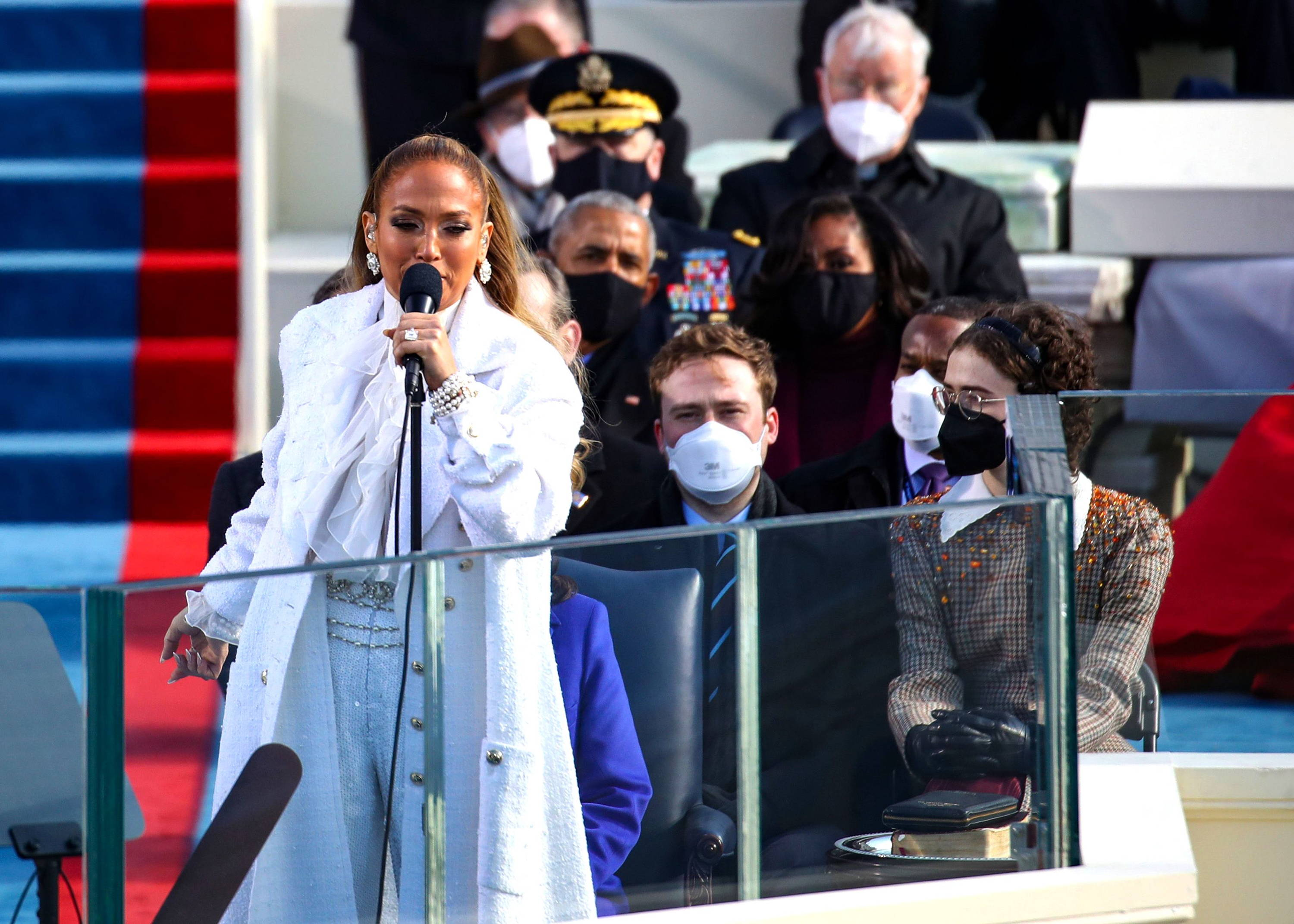 Jennifer Lopez performs at the inauguration ceremony of President Joseph R. Biden wearing a white outfit