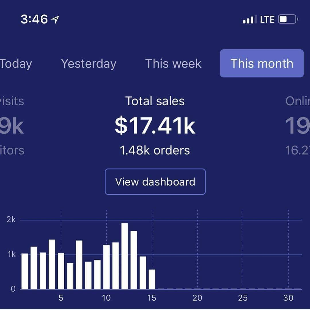 dropshipping monthly sales $17.4k