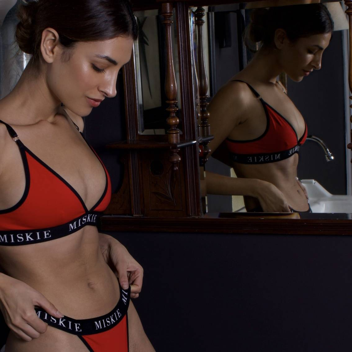 MISKIE London lingerie Bralette & thong set in red
