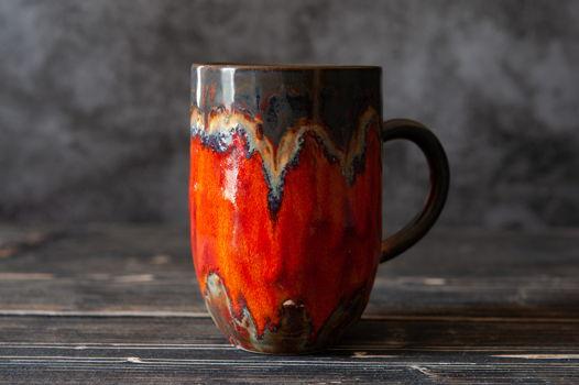 Большая огненная керамическая чашка