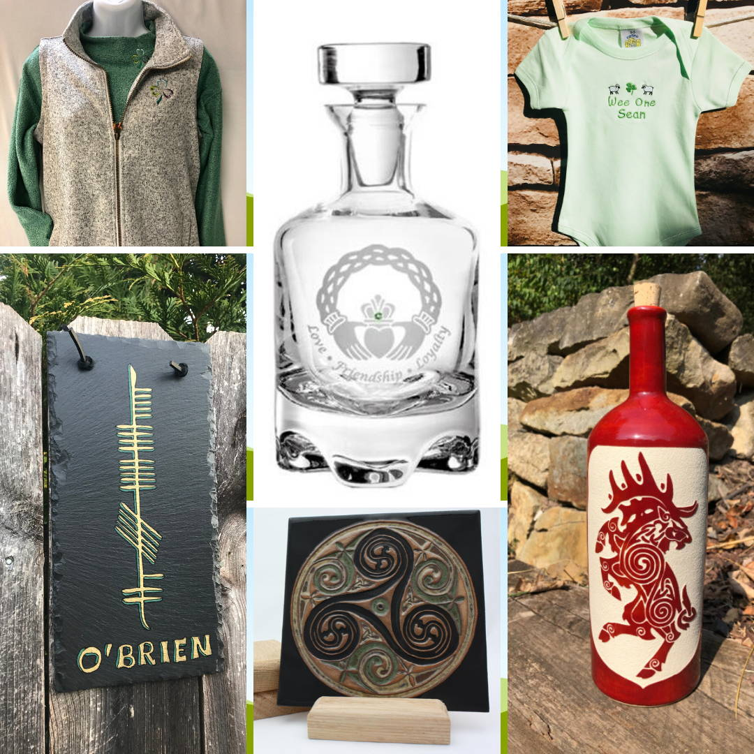 Celtic Festival Online Marketplace Ogham Art Shamrock Chic Healy Glass Artistry Faith and Begorra Celtic Hammer Club Earthen Craft Pottery