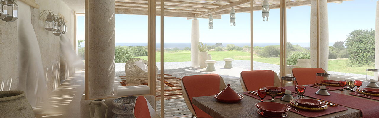 Hamburg - Sea view in front of Sardinia Italy from the luxury villa designed by Massimiliano Fuksas.