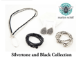 Marlyn Schiff Silver tone Black Jewelry Set