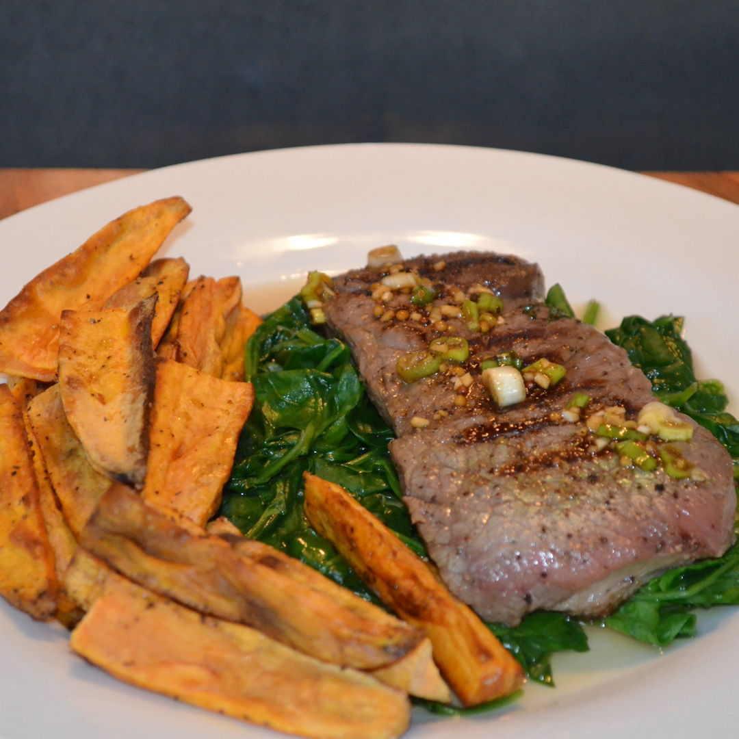 Date: 30 Apr 2020 (Thu) 112th Main: Saucy Steak with Sweet Potato Wedges [328] [159.6%] [Score: 9.5] Cuisine: French Dish Type: Main
