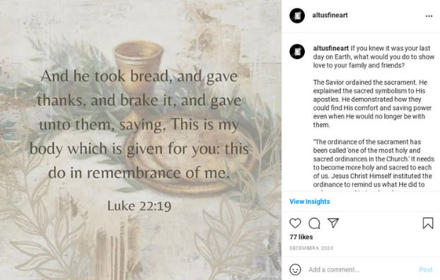 Instagram post featuring Luke 22:19 and a painting of sacramental bread.
