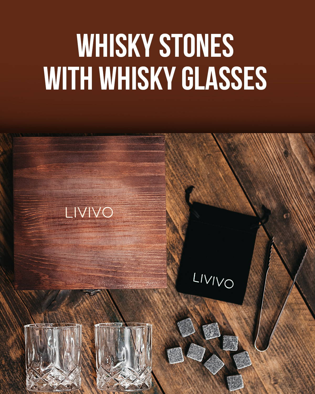 Whiskey Stones With Glasses