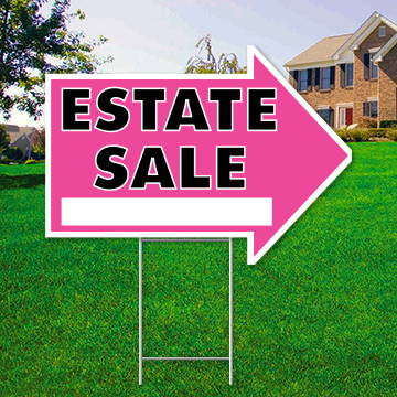 "17"" x 23"" pink arrow shaped sign saying ' Estate Sale'"