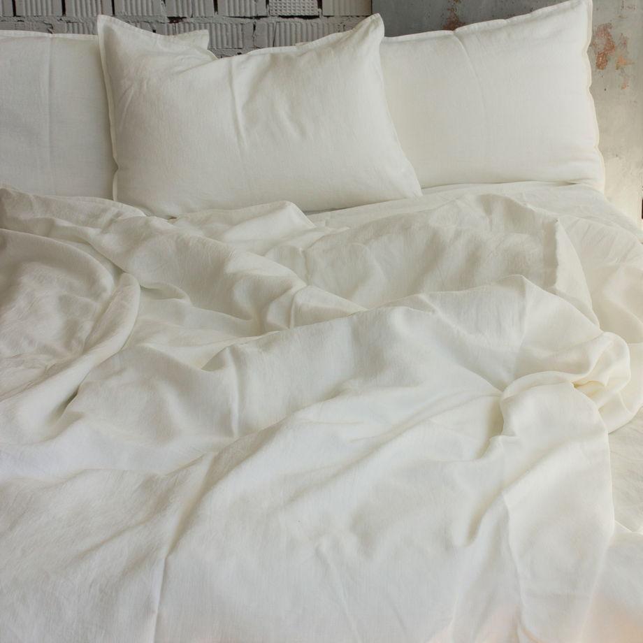 Комплект постельного белья из льна 180х200, простой, белый