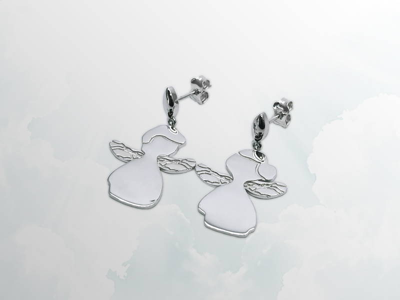 Earrings little angels boy and girl silver earrings