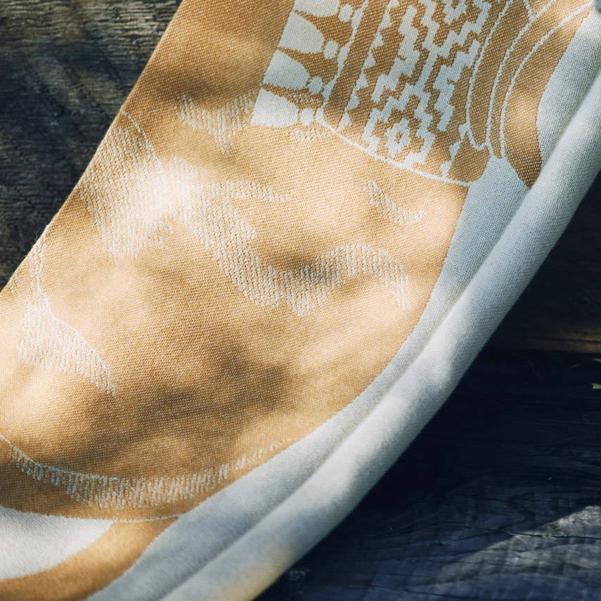 Design details of Equestrian-inspired Alpaca Polo Pony Throw in Gold - Stick & Ball